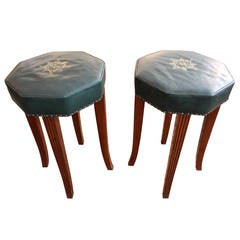 Pair of Vintage Leather Counter Stools