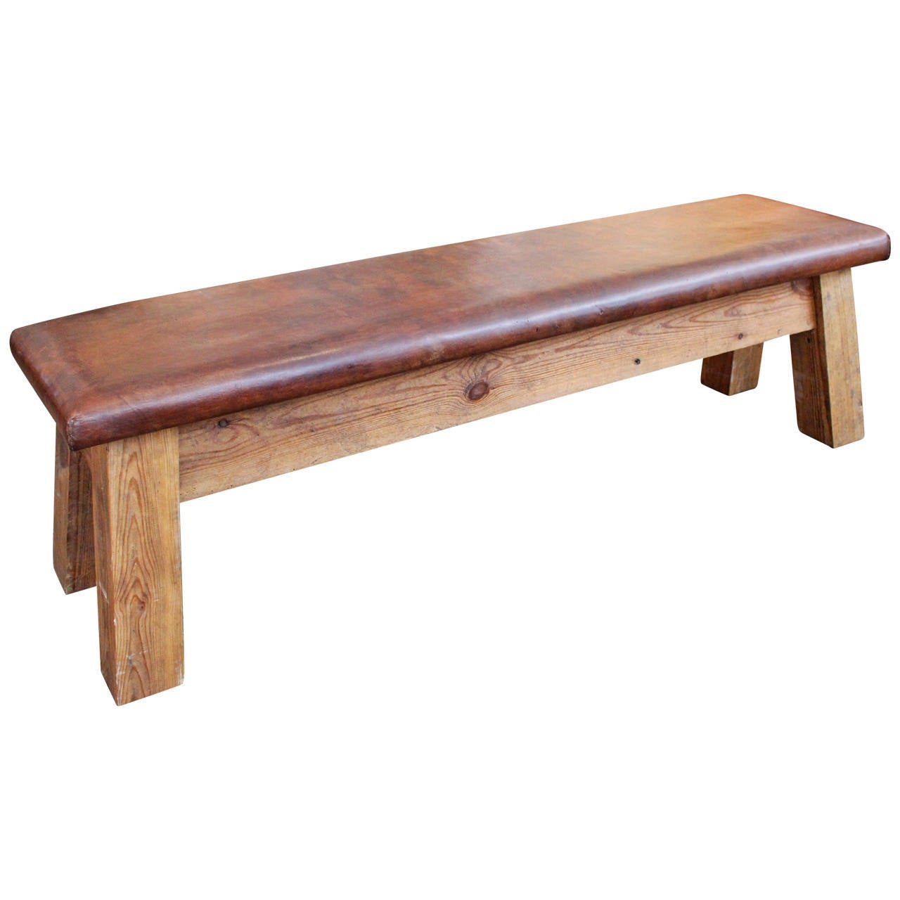 Vintage French Leather Gym Bench At 1stdibs