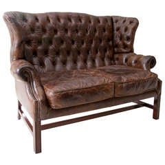 George III Style Leather Settee