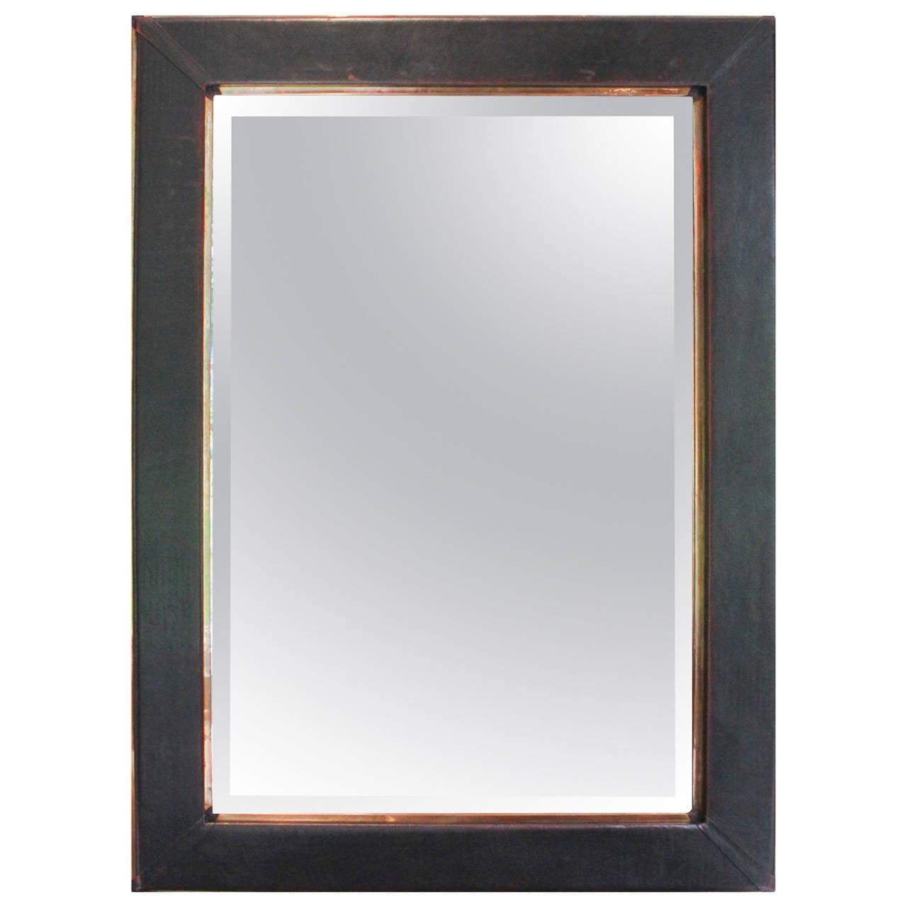 Contemporary leather and copper mirror at 1stdibs for Contemporary mirrors