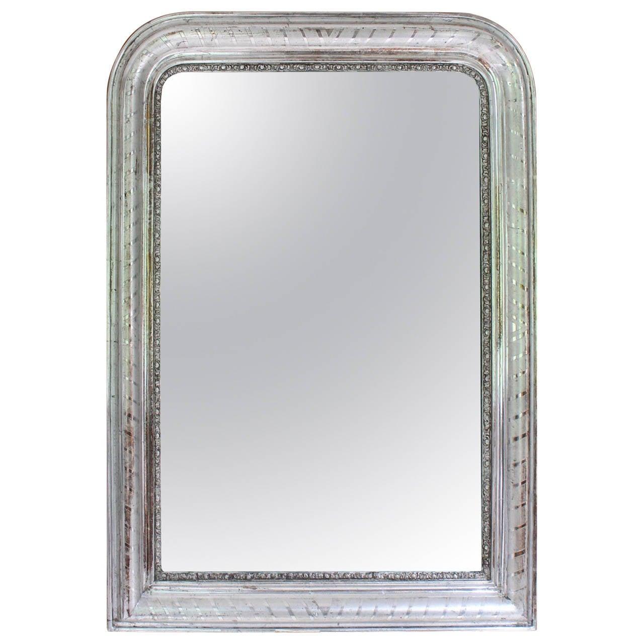 19th Century France Louis Philippe Silver Gilt Mirror