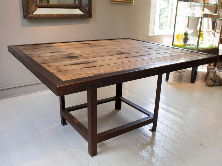 Square Dining Table handcrafted reclaimed wood dining table at 1stdibs