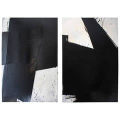 Mixed-Media Abstract Diptych