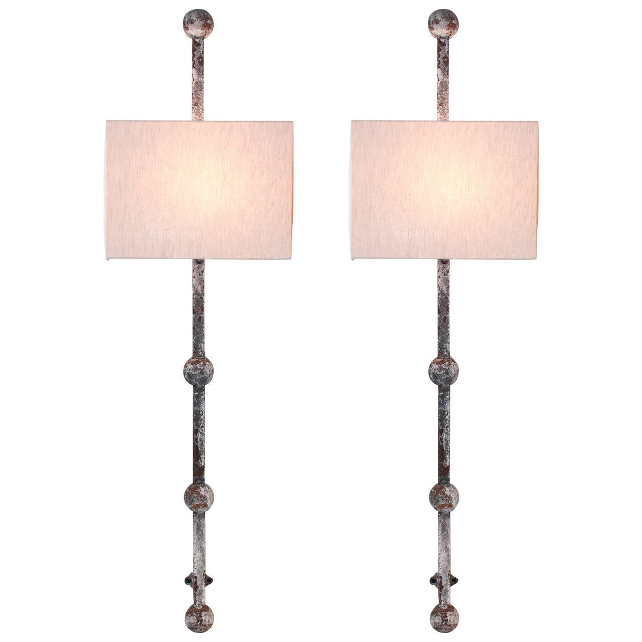 Metal Wall Sconces pair of tall iron wall sconces for sale at 1stdibs