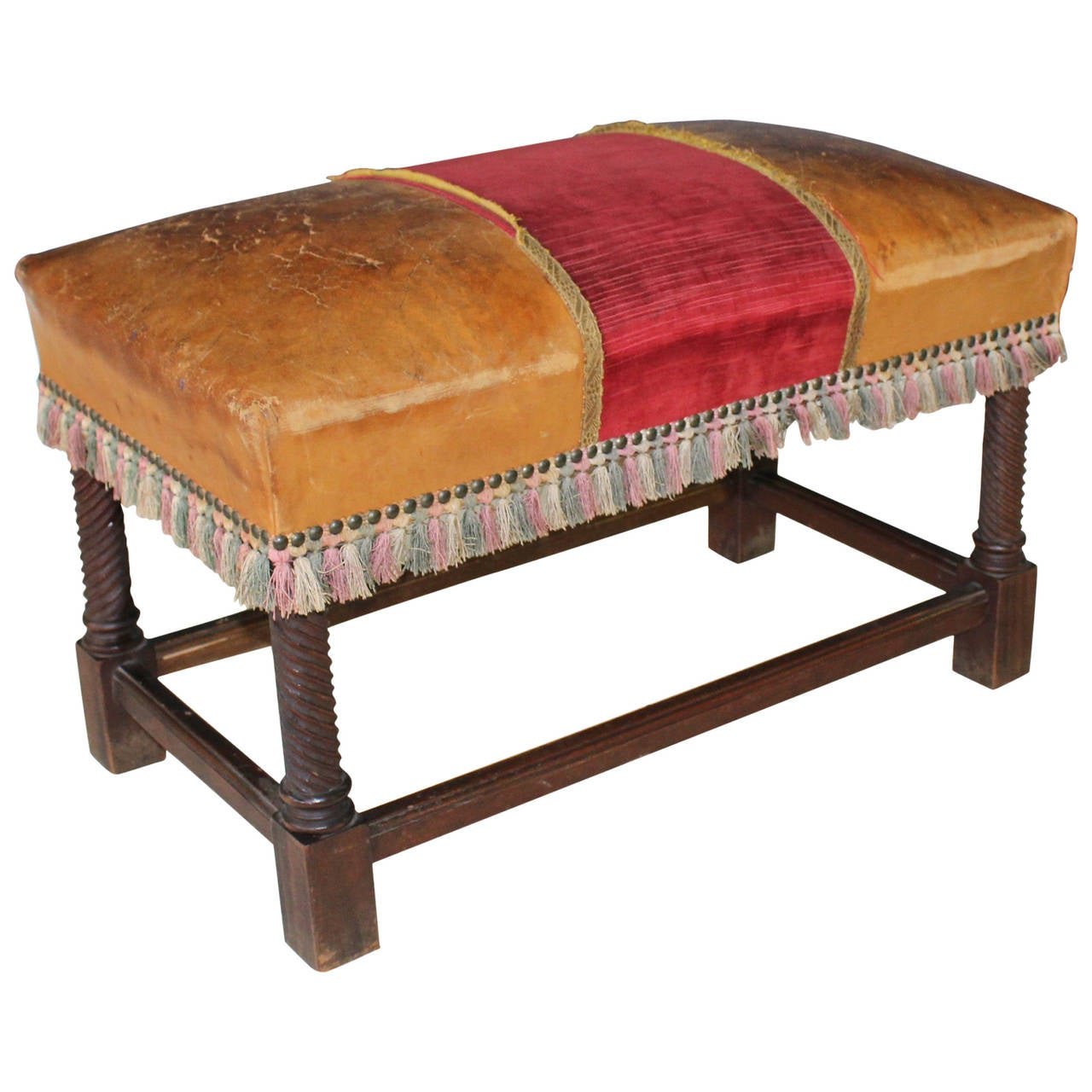 Leather upholstered walnut bench at 1stdibs for Leather daybed bench