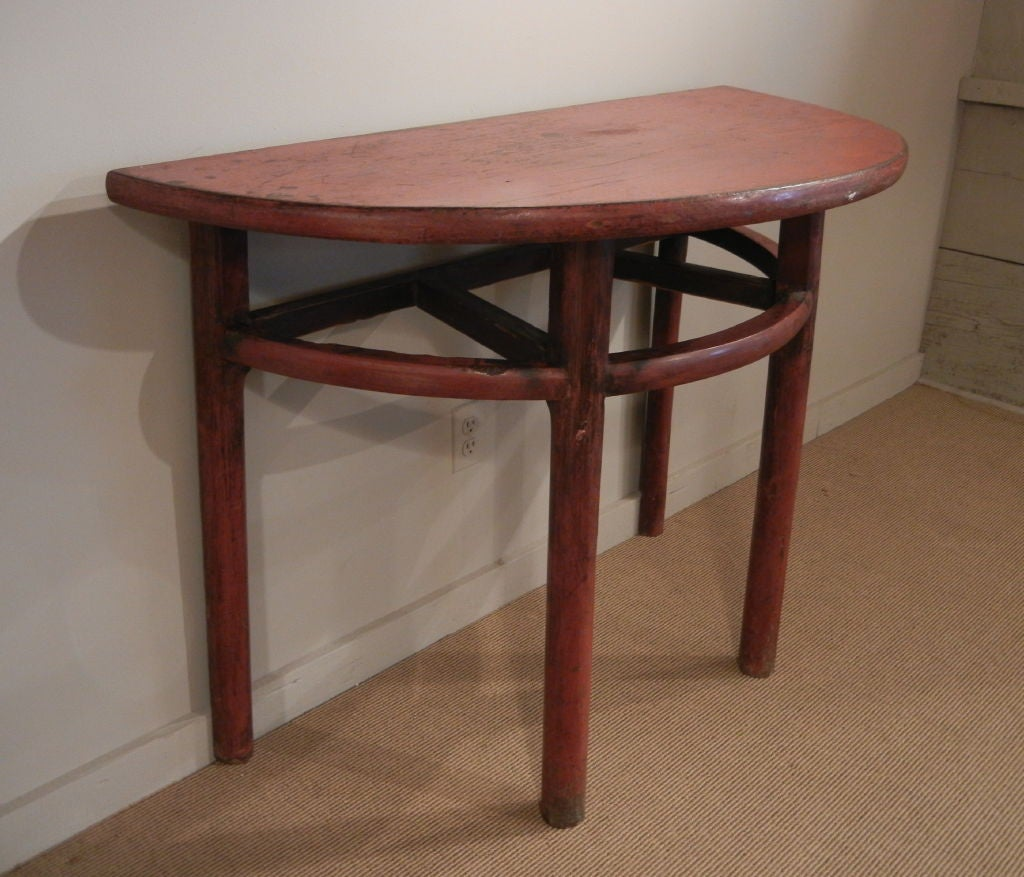 Pair of demi lune tables at 1stdibs for Table cuisine demi lune