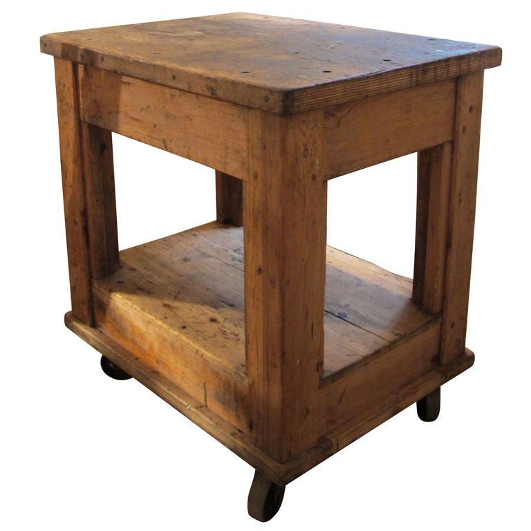 Industrial table on wheels at 1stdibs for Furniture work table