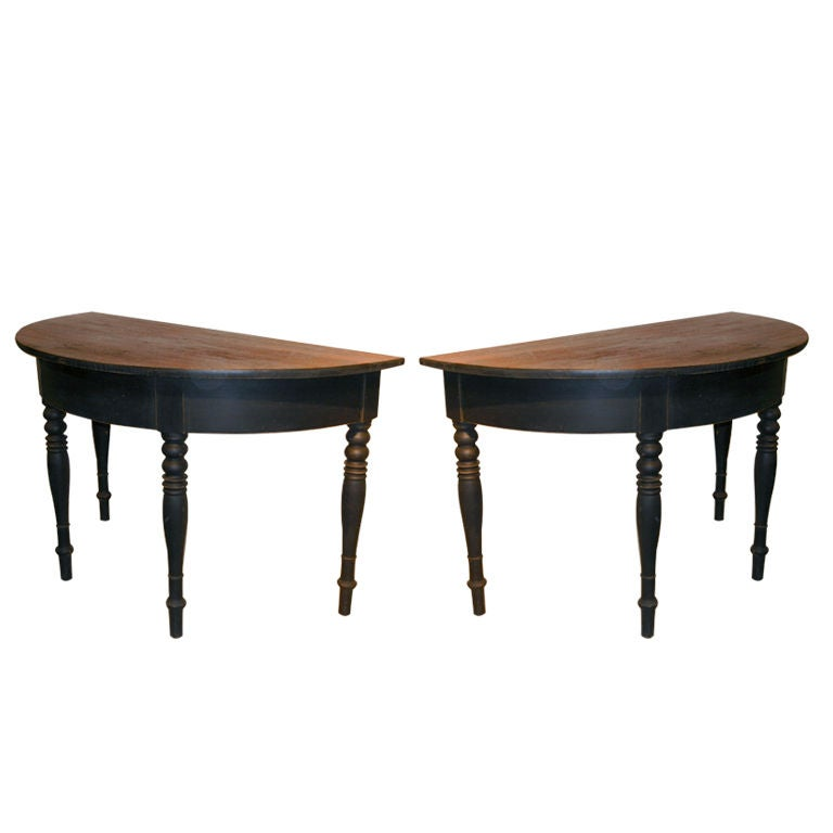 pair of ebonized demi lune tables at 1stdibs. Black Bedroom Furniture Sets. Home Design Ideas