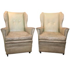 Pair of Celadon Leather Wingback Chairs