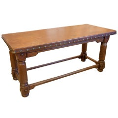 Wood Bench with Leather Covered Seat