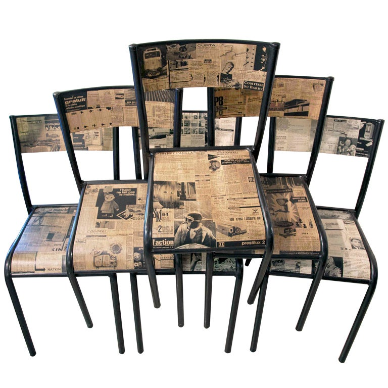 Set Of 4 Vintage Decoupage Metal Chairs At 1stdibs