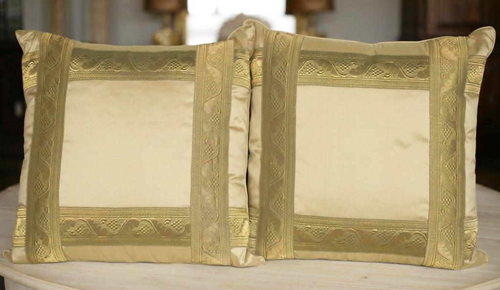Pair of Pale Gold Silk Pillows 2