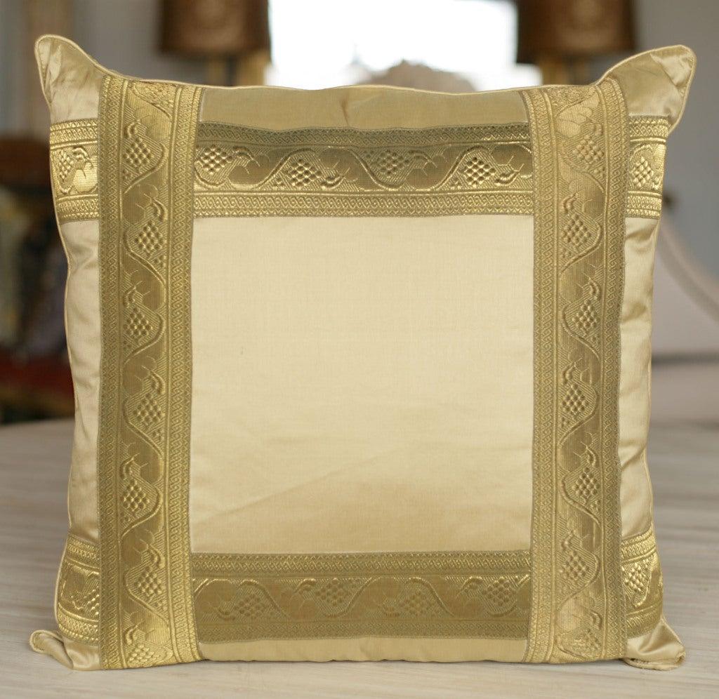 Pair of Pale Gold Silk Pillows 3