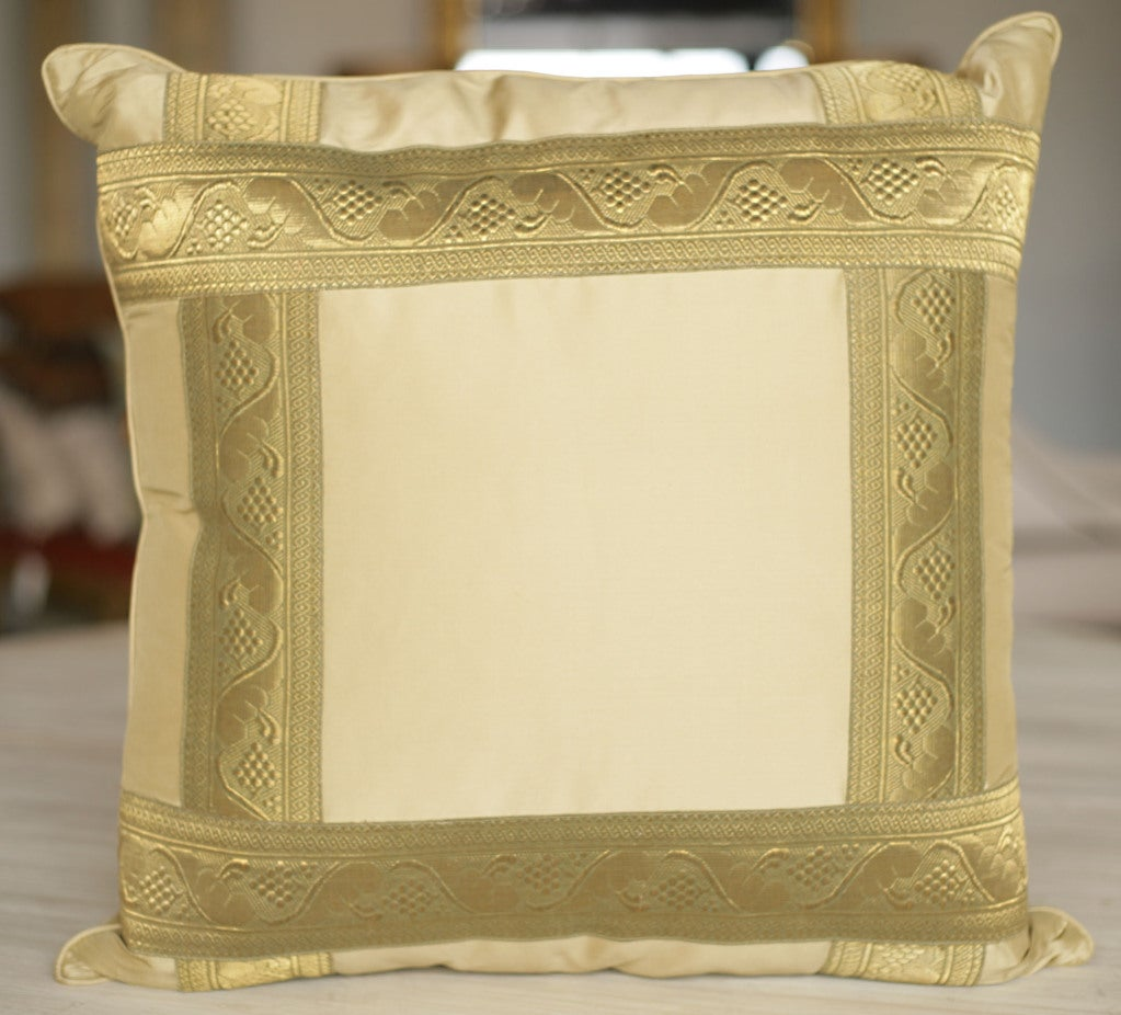 Pair of Pale Gold Silk Pillows 4