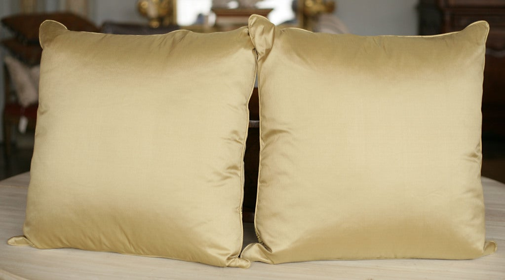 Pair of Pale Gold Silk Pillows 5