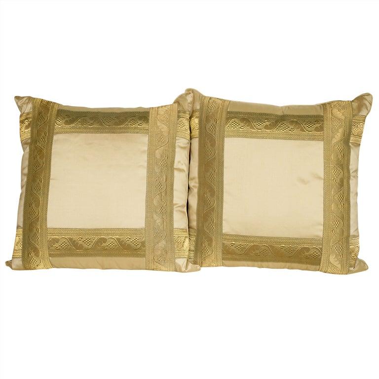 Pair of Pale Gold Silk Pillows 1