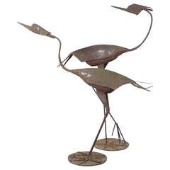 Pair of Sculpted Herons