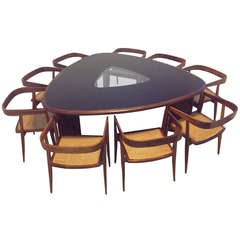 1960s Triangular Brazilian Dining Table and Chairs by Tenreiro