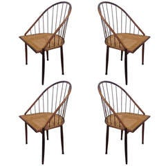 Set of Four Brazilian Curved Chairs with Stick Back by Joaquim Tenreiro