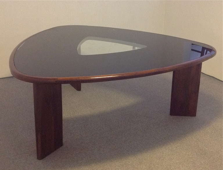 Rare triangular dining table and chairs by joaquim tenreiro at 1stdibs - Triangle dining table ...