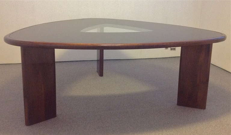 1960s triangular brazilian dining table and chairs by tenreiro for