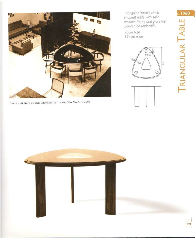 Rare triangular dining table and chairs by joaquim tenreiro at 1stdibs