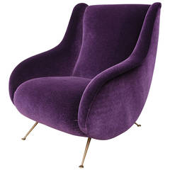 1960s Italian Armchair in Mohair with Brass Legs