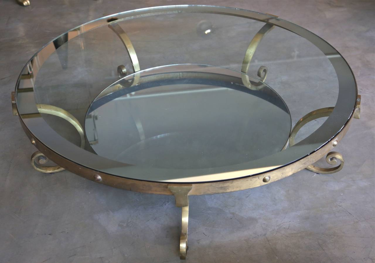 1950s Mexican Round Brass Coffee Table With Mirrored Glass For Sale At 1stdibs