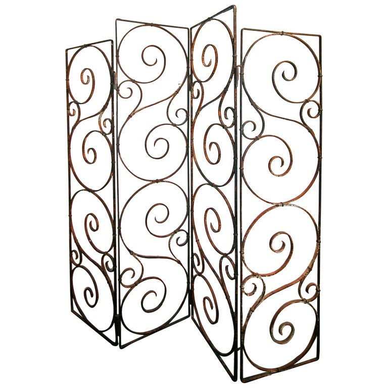 Argentinian 1960s Wrought Iron Screen with Four Panels