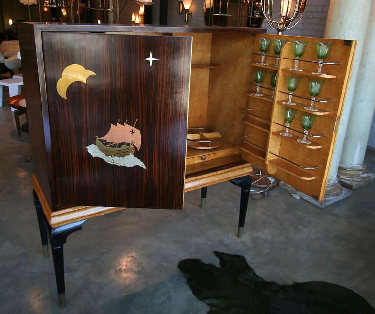 Mid-Century Modern 1940s Macassar Ebony and Burl Wood Bar Cabinet by Osvaldo Borsani For Sale