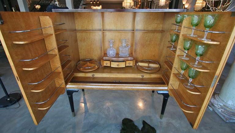 Italian 1940s Macassar Ebony and Burl Wood Bar Cabinet by Osvaldo Borsani For Sale