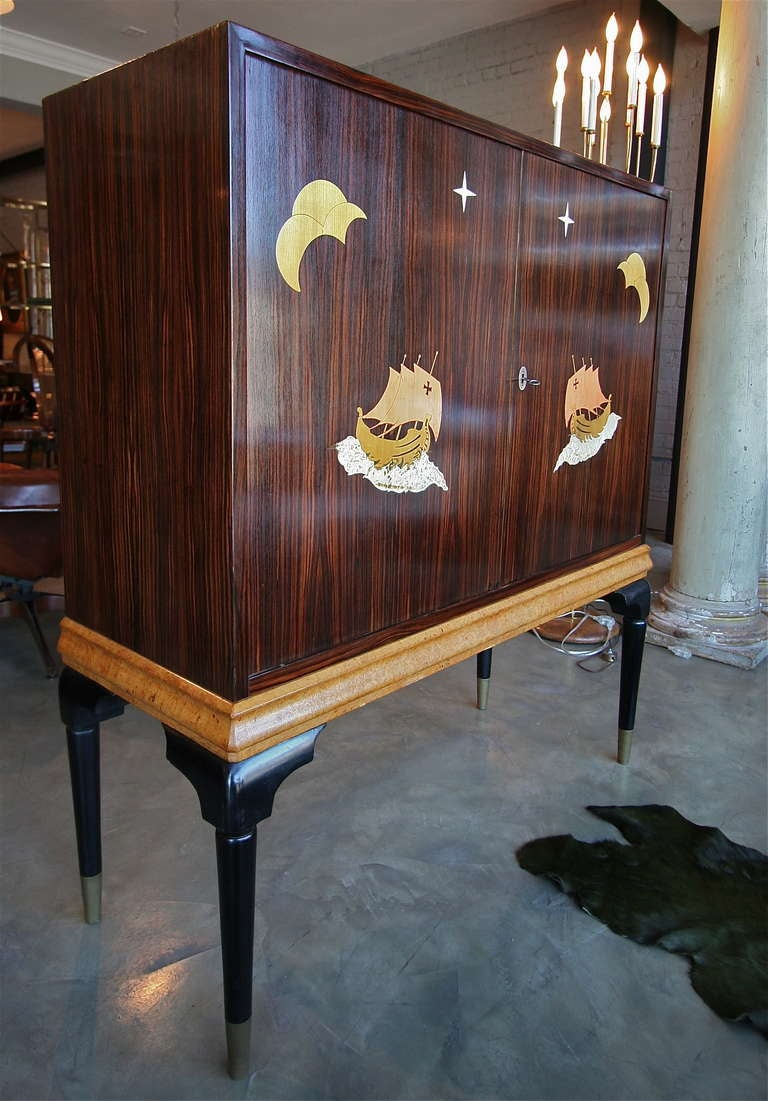 Mid-20th Century 1940s Macassar Ebony and Burl Wood Bar Cabinet by Osvaldo Borsani For Sale
