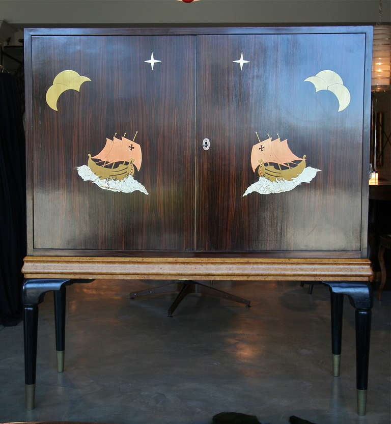 Bronze 1940s Macassar Ebony and Burl Wood Bar Cabinet by Osvaldo Borsani For Sale