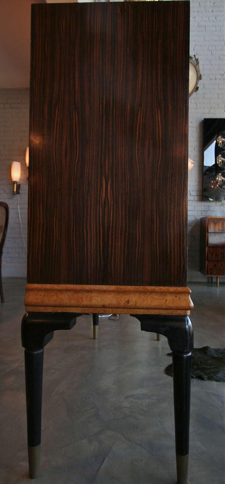 1940s Macassar Ebony and Burl Wood Bar Cabinet by Osvaldo Borsani For Sale 2