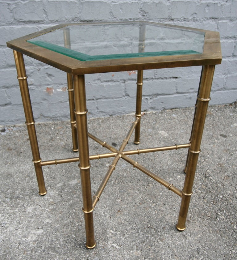 Set Of Three Mastercraft Honeycomb Brass Tables At 1stdibs