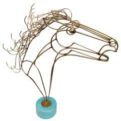 Curtis Jeré Brass Horse Head Sculpture