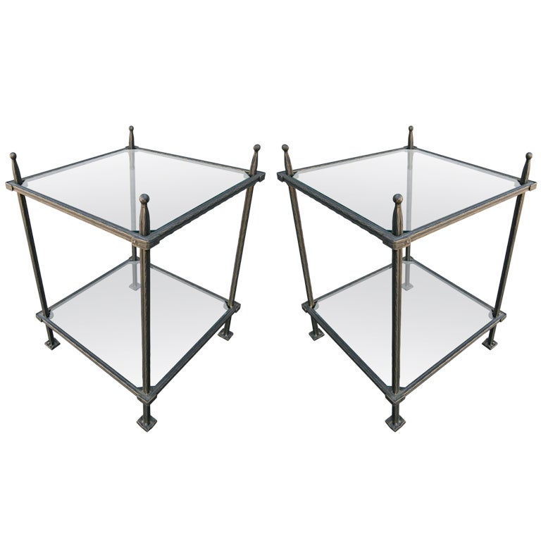 Claudio Rayes iron side tables, 1960s