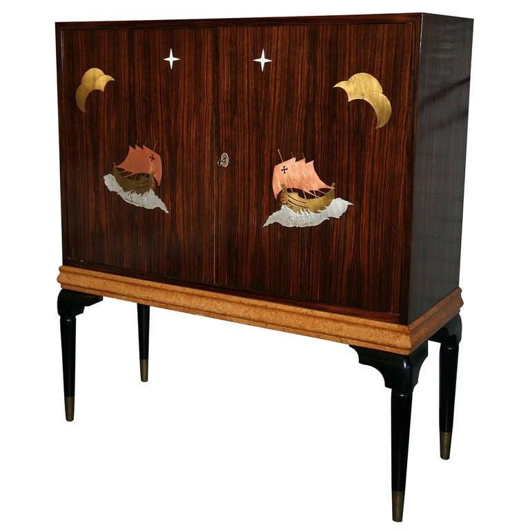 1940s Macassar Ebony and Burl Wood Bar Cabinet by Osvaldo Borsani For Sale