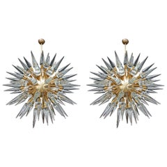 Italian Sputnik Chandeliers with Cone Shaped Glass Pieces