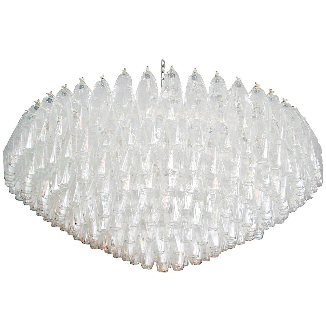 Large Round 1970s Polyhedron Glass Chandelier For Sale