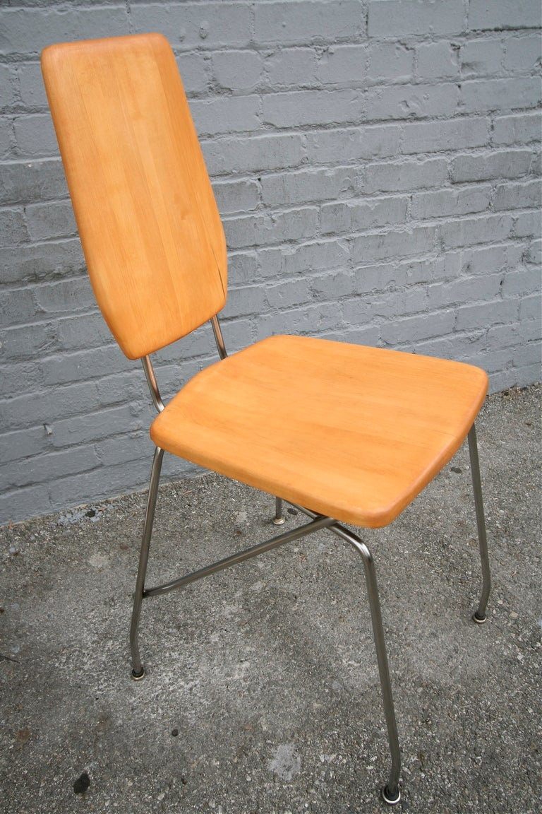 Robert Josten 1970s Metal Grid and Glass Desk with Wood Chair For Sale 2