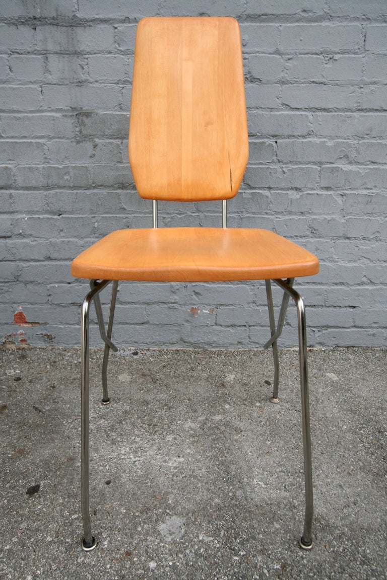 Robert Josten 1970s Metal Grid and Glass Desk with Wood Chair For Sale 3