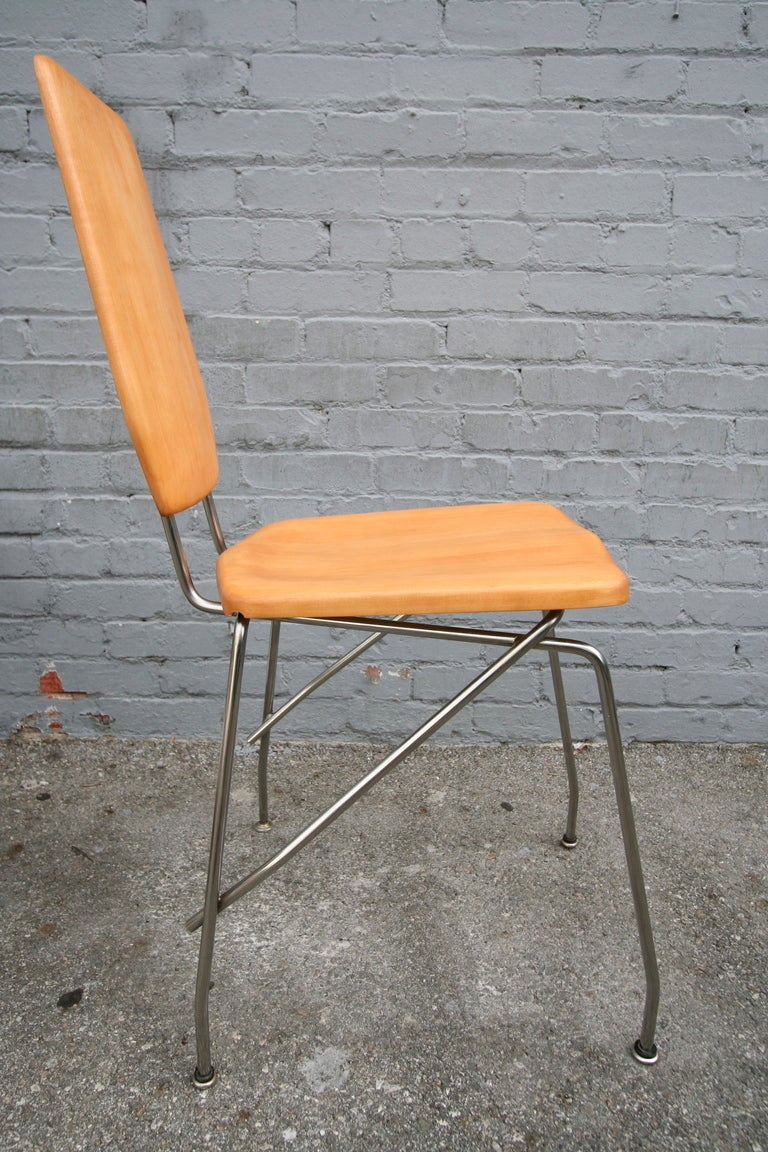 Robert Josten 1970s Metal Grid and Glass Desk with Wood Chair For Sale 4