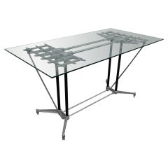 Robert Josten 1970s Metal Grid and Glass Desk with Wood Chair