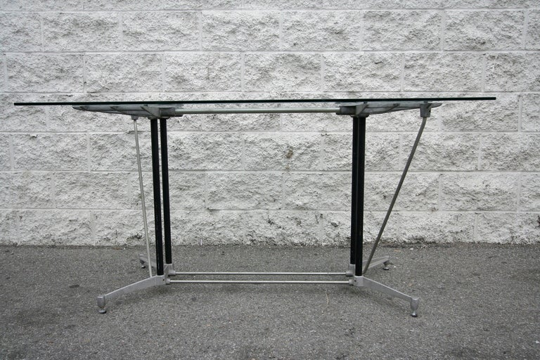 Mid-Century Modern Robert Josten 1970s Metal Grid and Glass Desk with Wood Chair For Sale