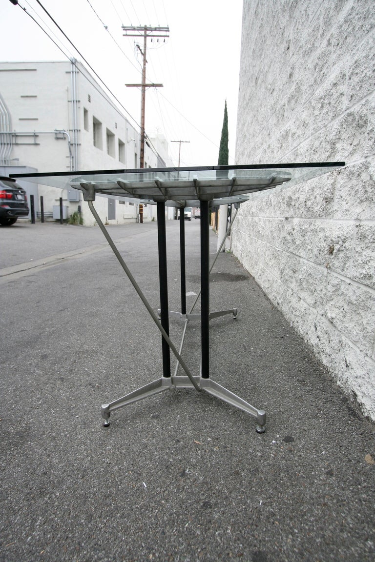 American Robert Josten 1970s Metal Grid and Glass Desk with Wood Chair For Sale