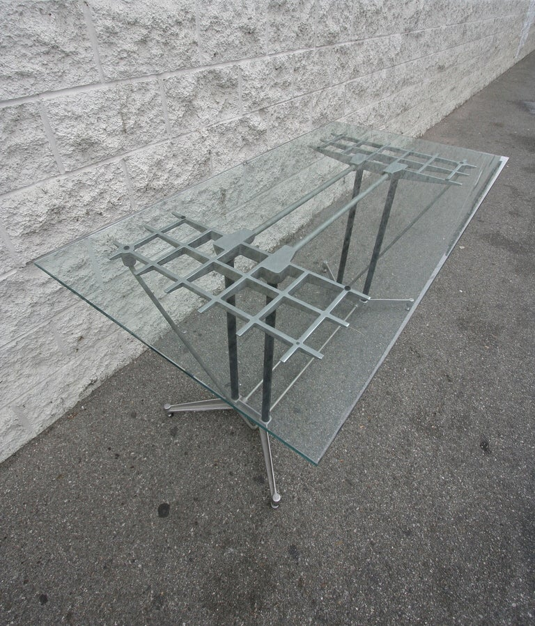 Late 20th Century Robert Josten 1970s Metal Grid and Glass Desk with Wood Chair For Sale