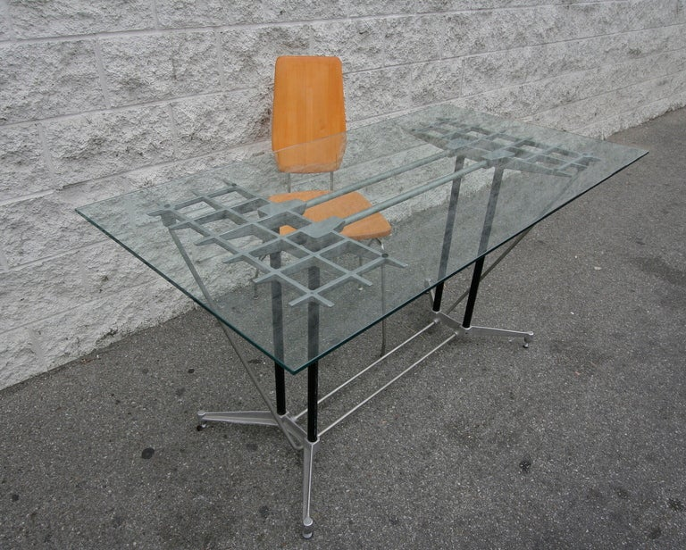 Robert Josten 1970s Metal Grid and Glass Desk with Wood Chair For Sale 1