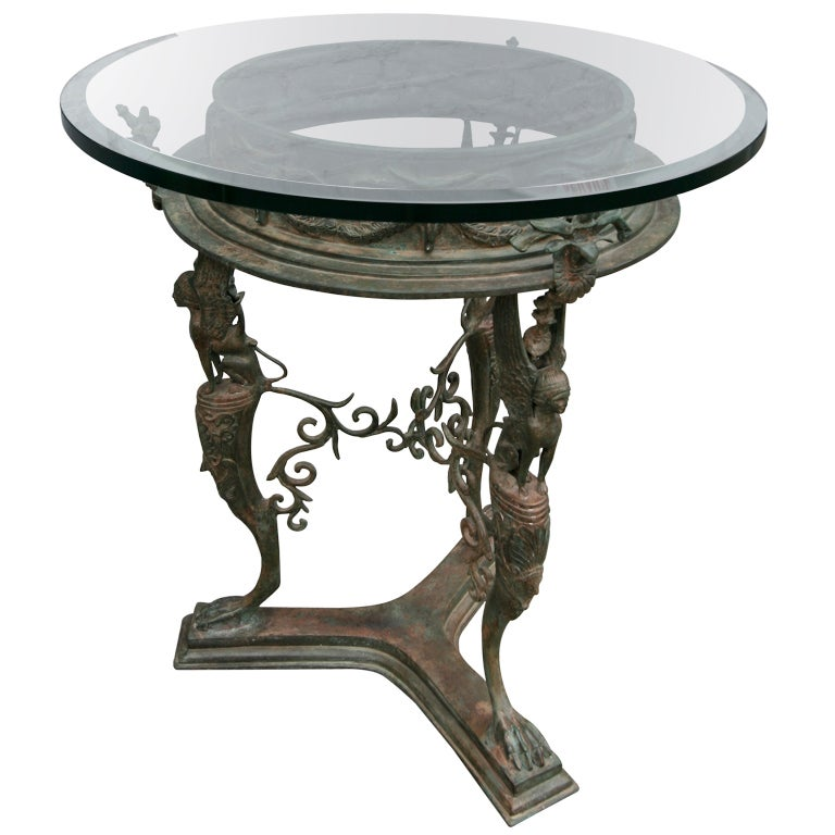 19th Century Imperial Bronze Side or Centre Table with Glass Top