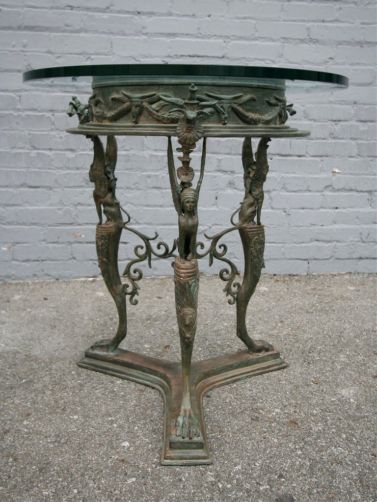 Napoleon III 19th Century Imperial Bronze Side or Centre Table with Glass Top For Sale